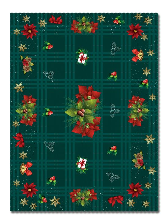 Покривка Коледно каре зелено