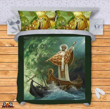 Спално бельо Свети Николай маслена картина
