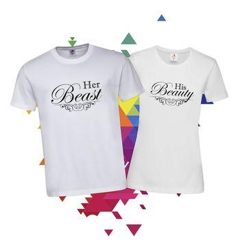 Тениски Комплект за влюбени Красавицата и Звяра