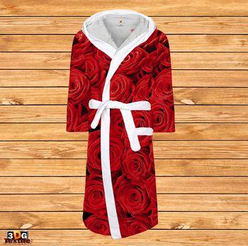 Халат за баня принт с бие Червени Рози