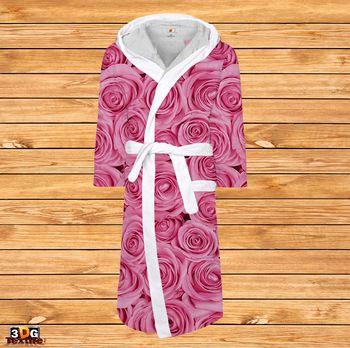 Халат за баня принт с бие Розови Рози