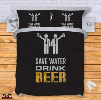 Спално бельо Пести вода Пий бира 2 Save water Drink beer 2