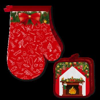 Ръкавицa и ръкохваткa Червен Коледен Комплект