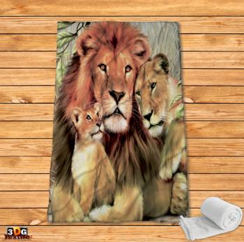 Поларено одеяло Принт Лъвско Семейство
