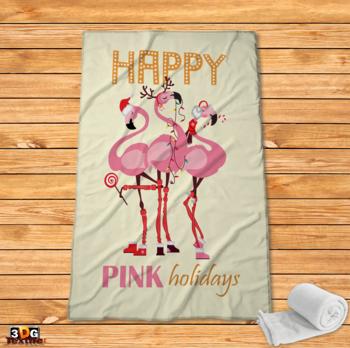 Поларено одеяло Принт Коледно Фламинго 2