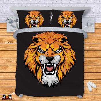 Спално бельо Лъв на черен фон