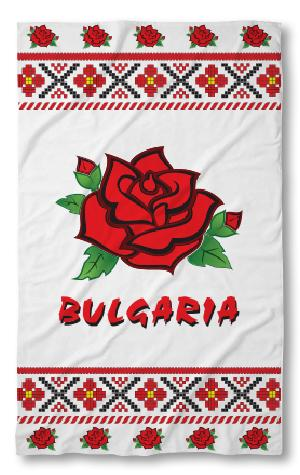 Хавлиена кърпа Бг фолклор червенa роза