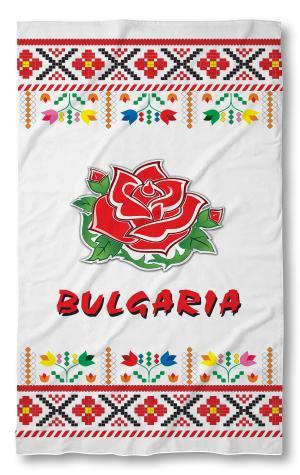 Хавлиена кърпа Бг фолклор червена роза